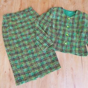 Vintage Handmade 2 PC Nubby Knit Skirt Suit